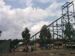 Figure 2.  Phum Syarung Site showing incline with head frame, laboratory and field office.